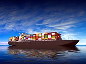 stock photo of container ship  - Large container ship Against a beautiful sea landscape - JPG