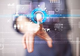 image of social system  - Business woman touching future web technology buttons and icons   - JPG