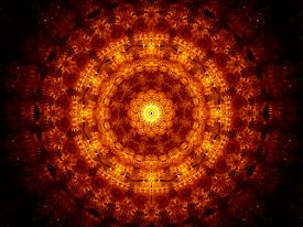 picture of tantra  - Glowing fiery oriental ornament computer generated abstract background - JPG