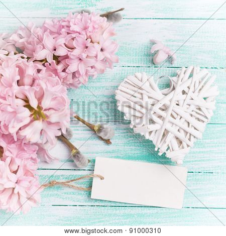 Postcard With Hyacinths, Willow, Heart And Empty Tag