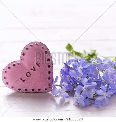 Background With  Blue  Flowers And  Pink Decorative Heart