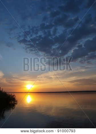Summer Sundown On Lake