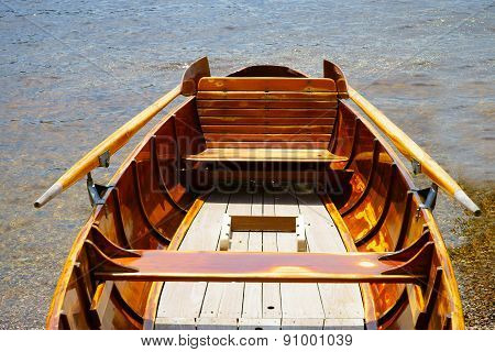 View Of A Wooden Rowboat