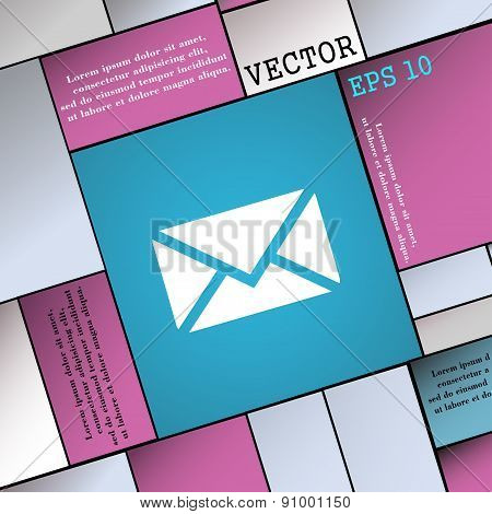 Mail, Envelope, Message  Icon Sign. Modern Flat Style For Your Design. Vector