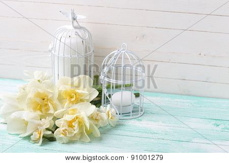 Background With  White Tulips, Narcissus  And Candles.