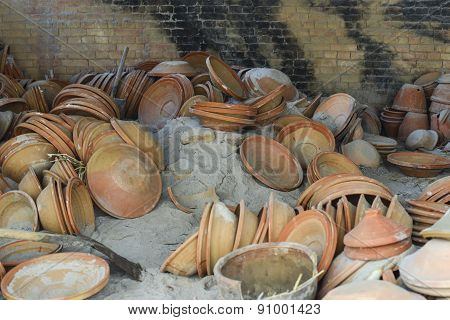 View Of The Pottery Factory In Nepal