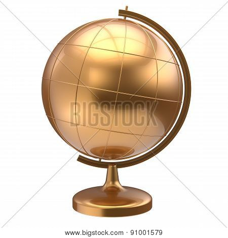 Globe Blank Golden Planet Earth World Studying Icon