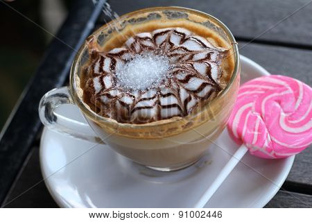 Hot Latte Coffee In Glassand Candy Sweet