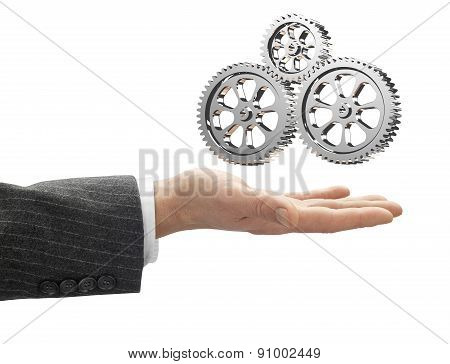 Hand With Metal Gearbox With Clipping Path