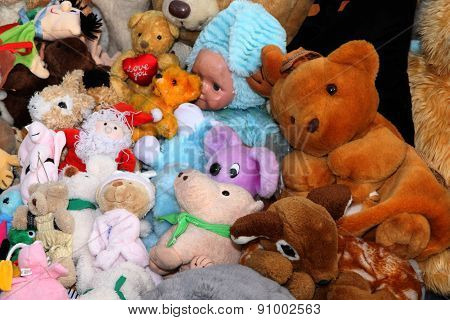 Various Stuffed Toys On Sale At Stall