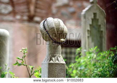 Islamic Old Gravestone In A Cemetery And The Rosary