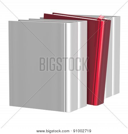 Blank White Books Selecting Red One Index Icon Concept