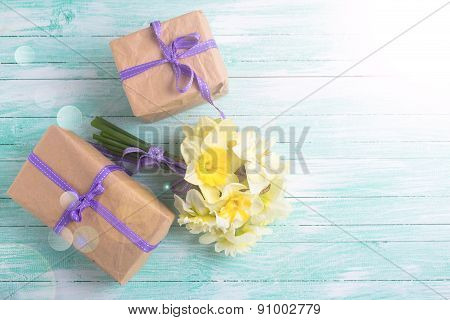 Bunch Of Fresh  Spring  Flowers And Gift Boxes