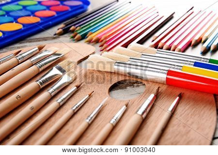 Composition With School Accessories For Painting And Drawing