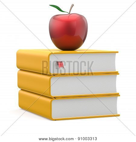 Red Apple Yellow Books Textbooks Stack Education Symbol