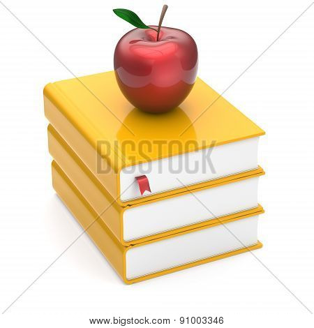 Red Apple Books Yellow Textbooks Stack Studying Symbol