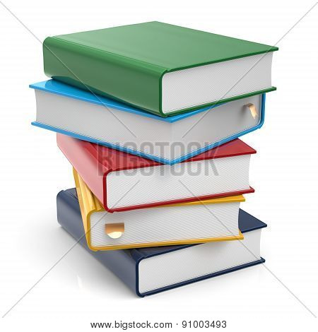 Book Stack Of Books Covers Blank Colorful Textbooks Icon