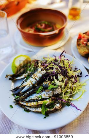 Grilled sardines, traditional Mediterranean dish