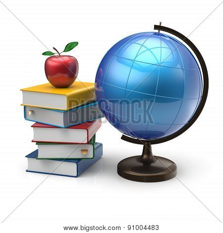 Apple Globe Books Blank International Literature Icon Concept