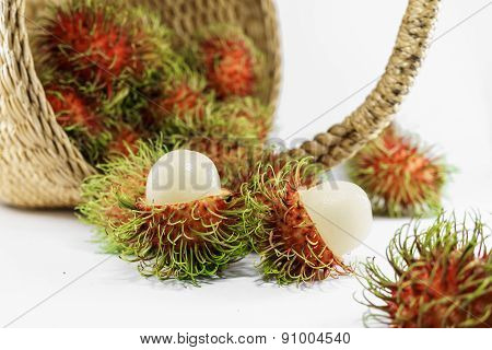 Fresh Ripe Rambutan In Basket