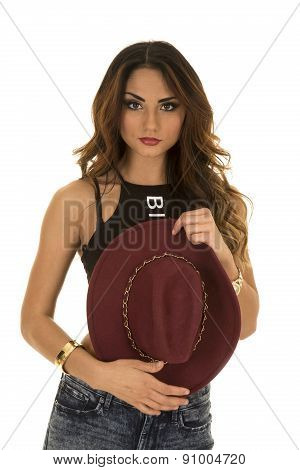 Woman In Red Hat And Black Shirt Look Serious