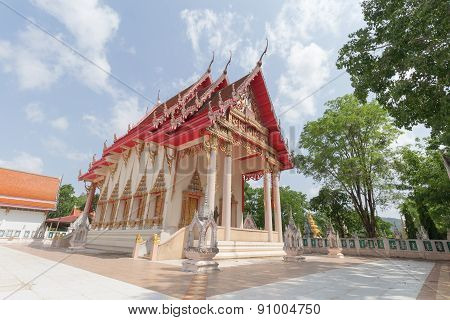 Temple with tree and sky background