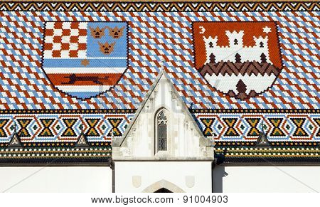 Roof of St Mark's Church in Zagreb