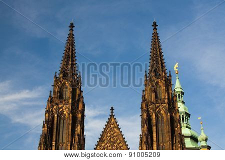 Two Towers On The West Side Of St.vitus Cathedral