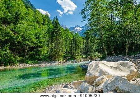Aalpine landscape with a mountain brook, Austria