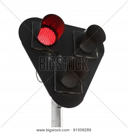 Black Traffic Lights With Red Signal Isolated On White