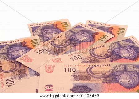 One hundred rand banknotes