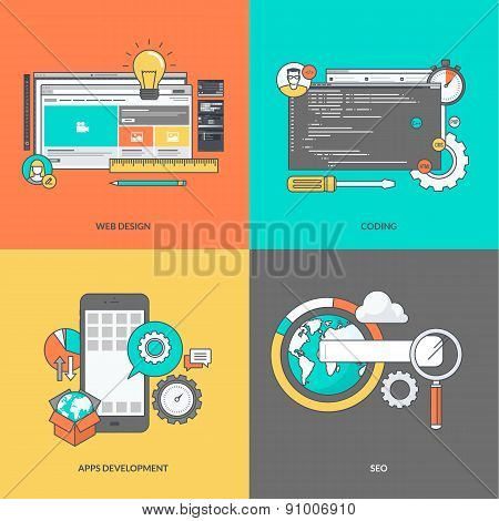 Set of color line icons on the theme of web development