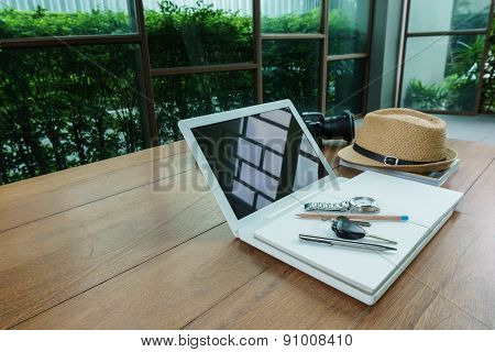 Angle View At Laptop And Working Accessory