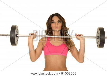 Woman Fitness Pink Bra Bar Up