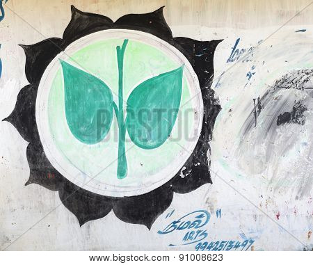Green Tamil Nadu Aiadmk Party Symbol On Wall.