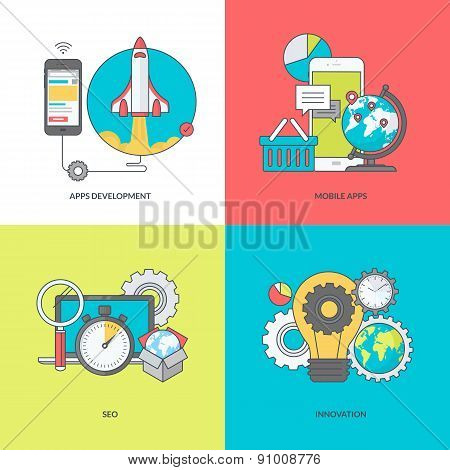 Set of color line icons on the theme of mobile apps development
