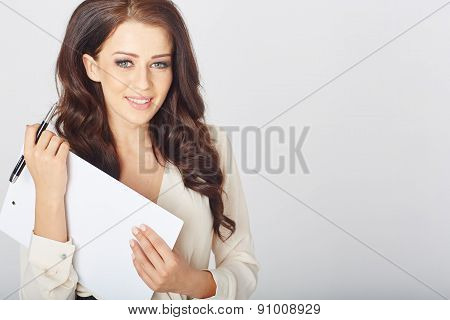 businesswoman with a clipboard