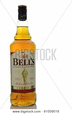 Bells whisky isolated on white background