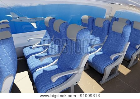 Interior of a modern aircraft.