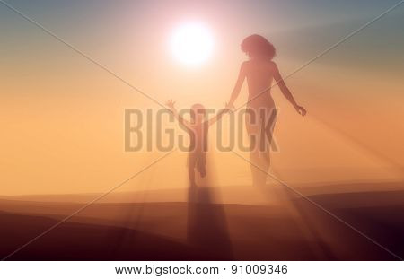 Silhouette of a woman and child in the fog.