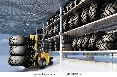 Truck in  hangar with wheels