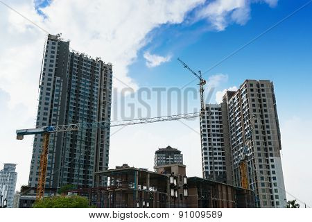 Tower Crane On Buildings Under Construction