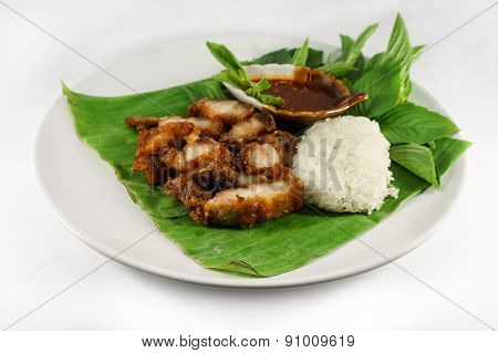 Fried Pork And Sticky Rice With Sauce