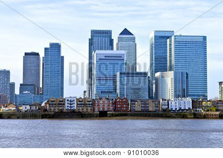 Skyline of London financial district over Thames river