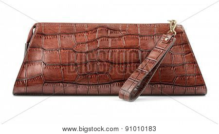 Brown leather zip top clutch bag isolated on white
