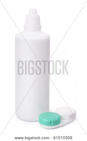 Contact lenses solution and storage case isolated on white