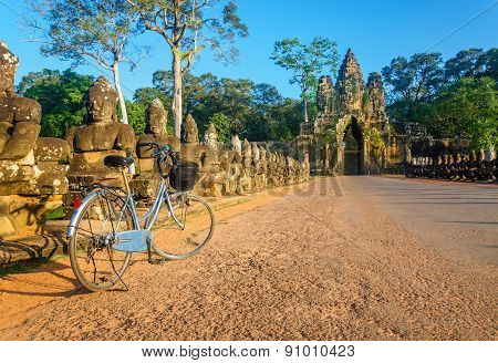 Classic bicycle in front of Angkor Wat, Cambodia