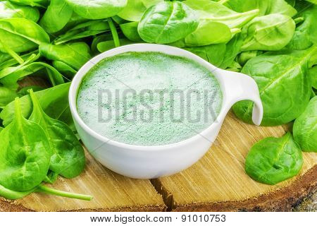 Spinach Smoothie in white bowl with spinach around