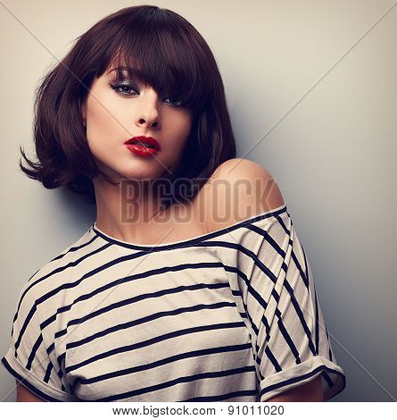 Sexy Makeup Short Hair Woman In Casual Clothes. Closeup Vintage Portrait
