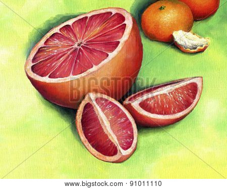 Red grapefruit, painted in oil on canvas.